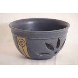 """Weißiger Keramik Teelichthalter durchbrochen """"Rose"""""""