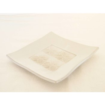 Weißiger Keramik Keramik-Leuchterplatte weiß 4 Stempelabdrücke