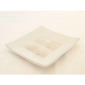 Weißiger Keramik Leuchterplatte weiß mit vier Stempelabdrücken