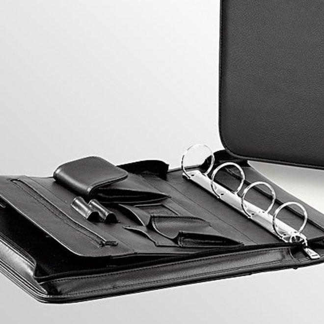Schrijfmap A4, kunstleer, met ringband en handvat