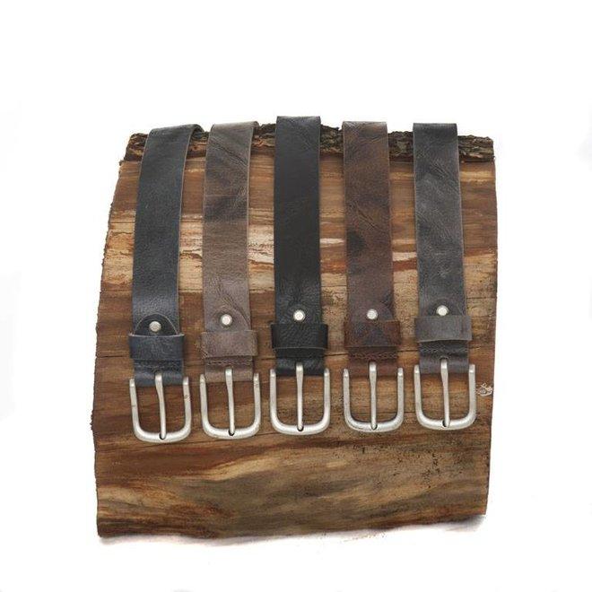 Leren riem met nikkelvrijegesp van rundsnerfleder3.4 cm breed