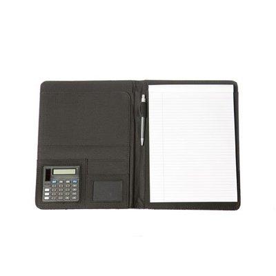 A4 schrijfmap van kunstleer met calculator