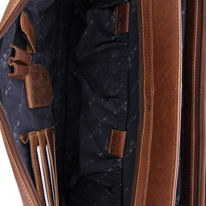 "Leren aktetas Plevier Morse 15.6""inch - bruin"