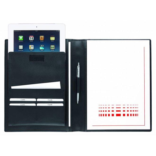 Lederen A4 schrijfmap met apart Tablet vak