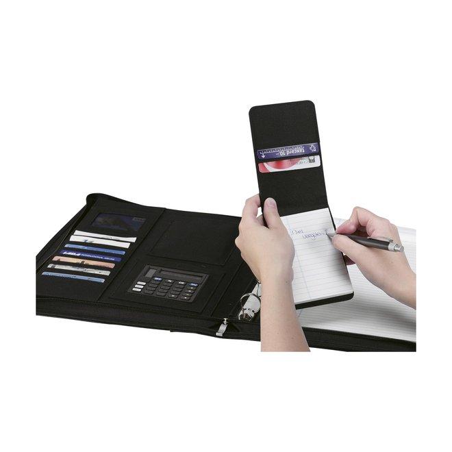 Kunstlederen A4 schrijfmap met ringband, calculator en klembord