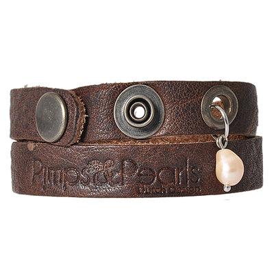 PimpsandPearls  Leren armband Moesss 17 Dark Brown
