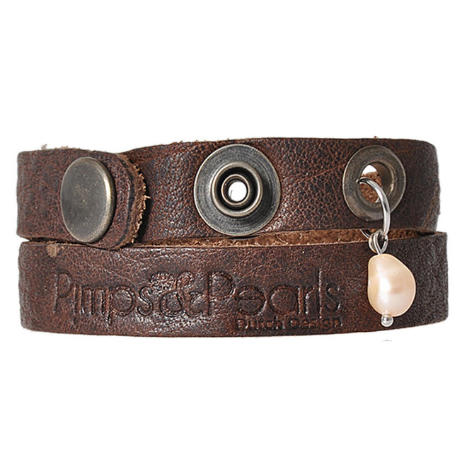 Leren armband PimpsandPearls Moesss Dark Brown