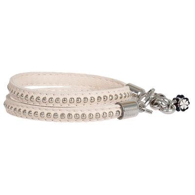 PimpsandPearls  Leren trendy armband met studs PimpsandPearls Creamy