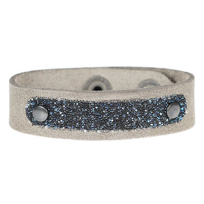 PimpsandPearls  Leren armband met Swarovski PimpsandPearls Midnight Soft Grey
