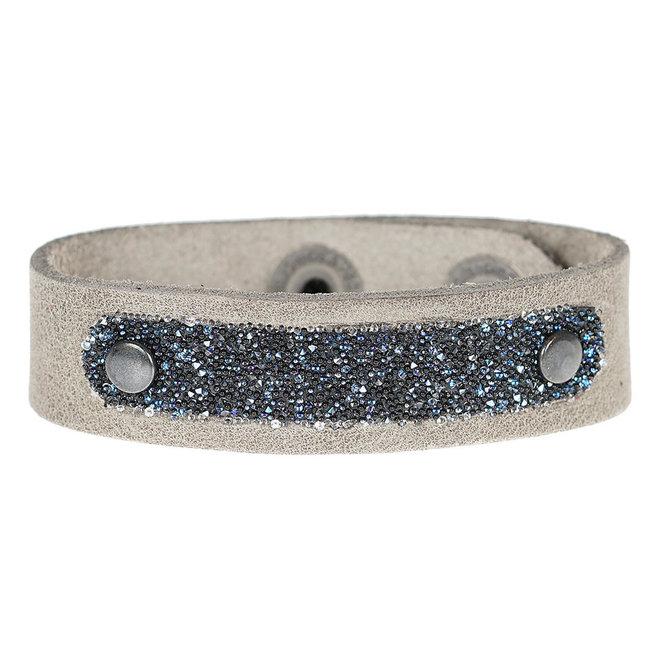 Leren armband met Swarovski PimpsandPearls Midnight Soft Grey