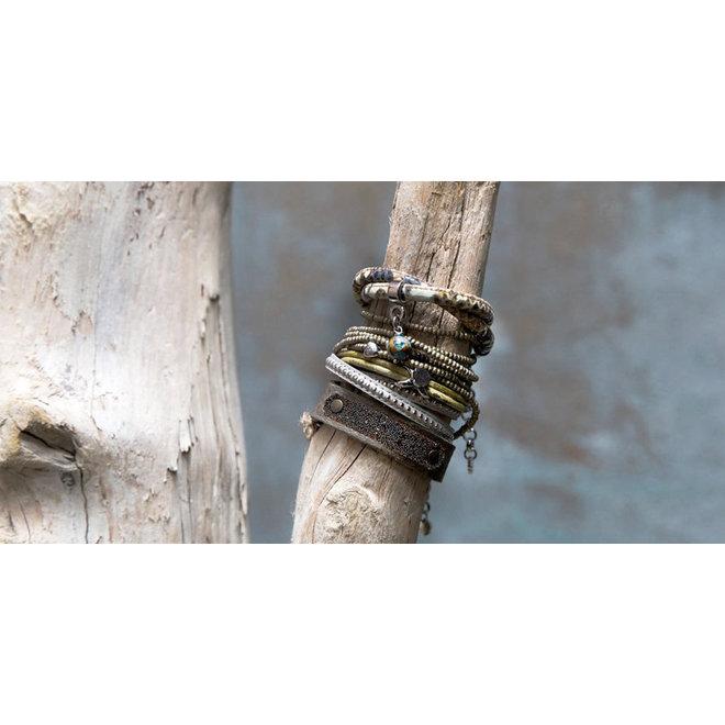 Leren armband met Swarovski PimpsandPearls Vintage Olive