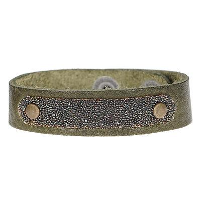 PimpsandPearls  Leren armband met Swarovski PimpsandPearls Vintage Olive