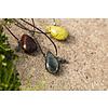 PimpsandPearls  Leren ketting met edelsteen in druppelvorm Blizard Stone van PimpsandPearls
