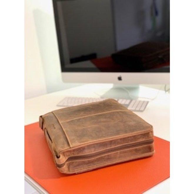 Leren schrijf- documentenmap A4 met handvat, rits, ringband