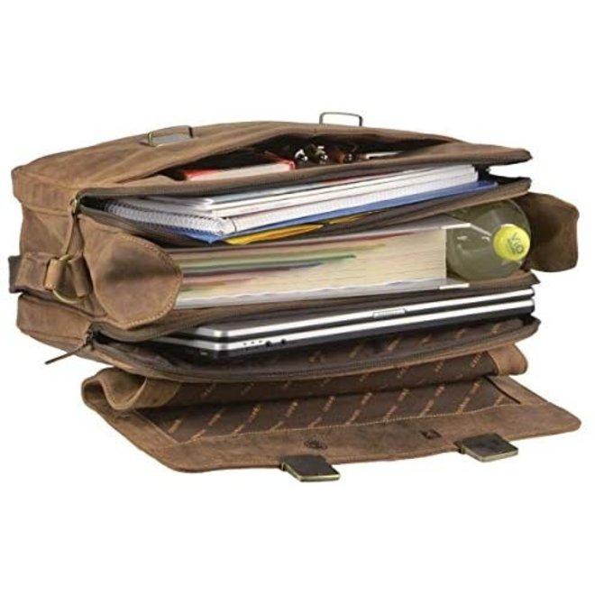 Leren laptop/aktetas 15,6 inch
