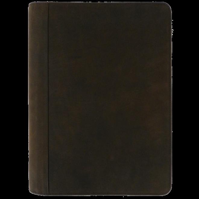 Lederen schrijfmap A4 met uitneembare ringband, schrijfblok en ritssluiting