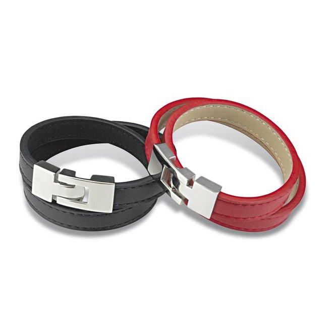 Leren rode wikkelarmband met metaalsluiting