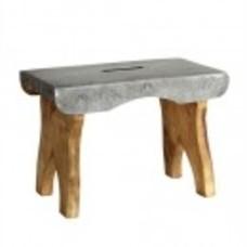 Hocker, Holz mit Zinkplatte