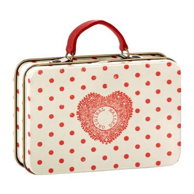 Maileg Metal Suitcase, Creame, Coral dots