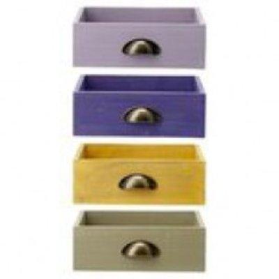 Schublade aus Holz in 4 verschiedenen Farben