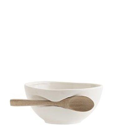 Madam Stoltz Porzellan- Schale mit Holzlöffel