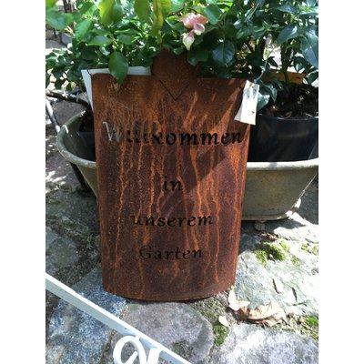 Schild, Rost oder Zink, Willkommen in unserem Garten