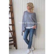 Bypias Knitted Linen Poncho, Dark Grey