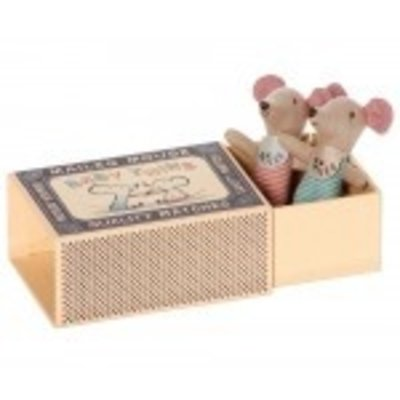 Maileg Baby Mouse twins, Zwillinge in Matchbox