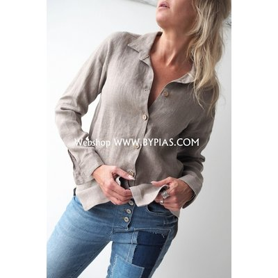 Bypias Boyfriend Linen Shirt, Natural