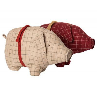 Schwein, Medium, Sand oder Rot, kariert von Maileg