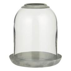 IB Laursen Glasglocke Loch oben und Metallschale