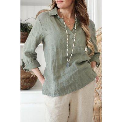 Bypias Shaggy Linen Shirt, Olive, Größe 1 von Bypias