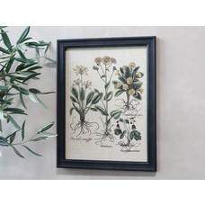 Chic Antique Bild mit Blumenmotiv und schwarzem Rahmen