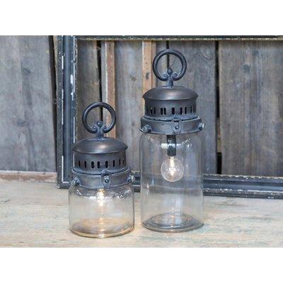 Chic Antique Franz. Stalllaterne inkl. Glühbirne und Timer aus Metall in 2 Größen