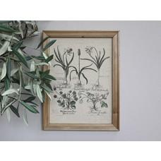 Chic Antique Bild mit Blumendruck und Naturrahmen