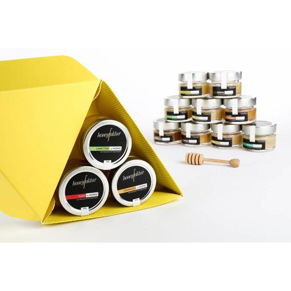 """Honig Geschenkset """"Triangel"""" gelb mit 3 Gläsern Ihrer Wahl."""