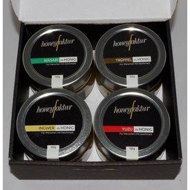 Honig Geschenkset mit 4 Gläsern Ihrer Wahl (bitte auf das Bild klicken um die Sorten auszuwählen)