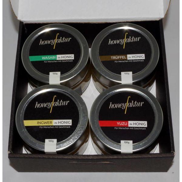 Honig Geschenkset in schwarz mit 4 Gläsern Ihrer Wahl