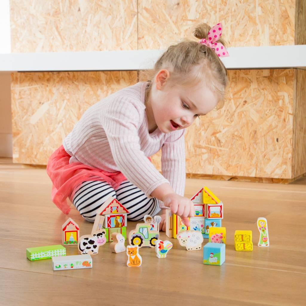New Classic Toys Boerderij bouwblokken speelset