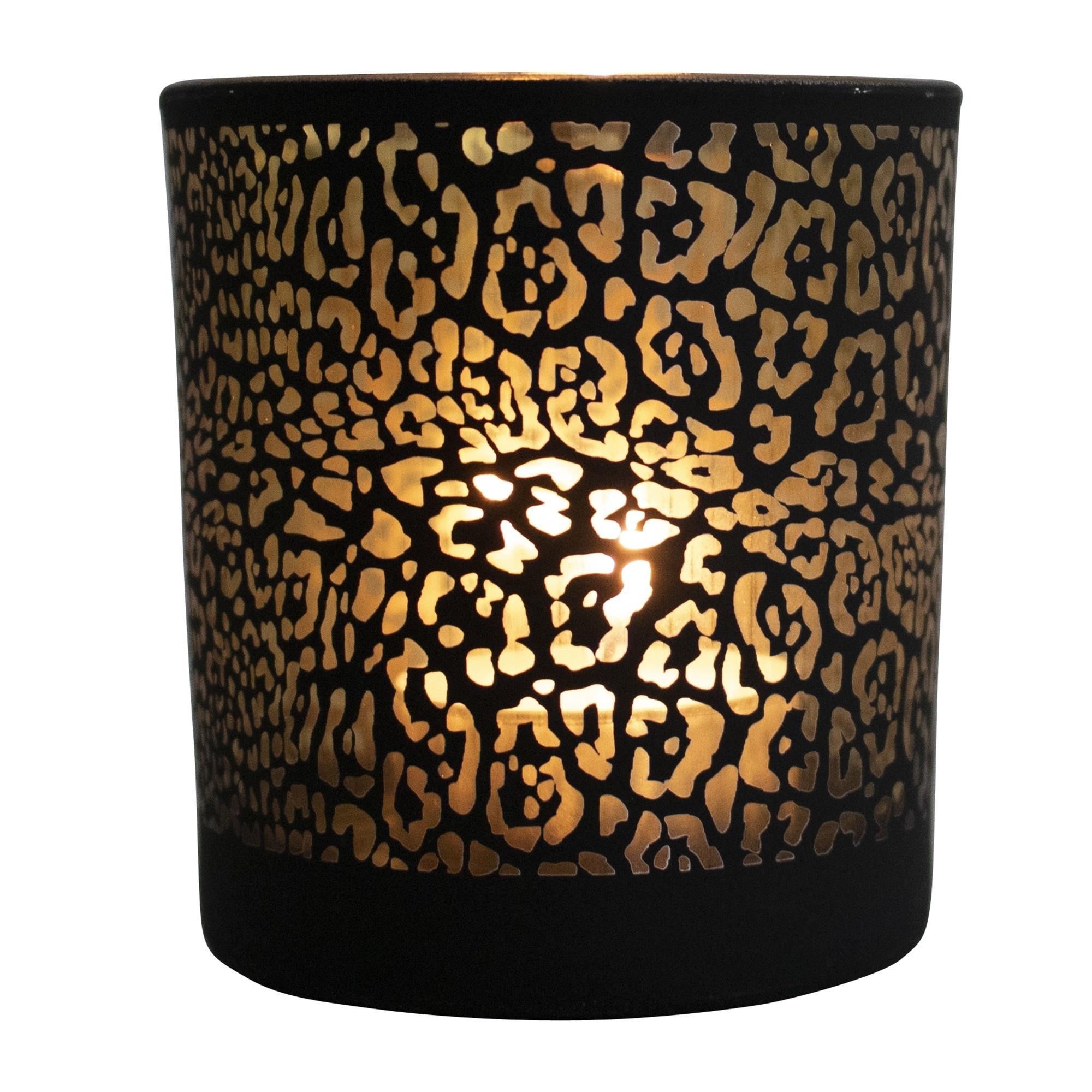 Mars & More Waxinelichthouder jaguar print mat zwart large