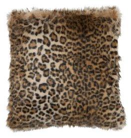 J-line Kussen Nepbont Leopard Zwart/Bruin