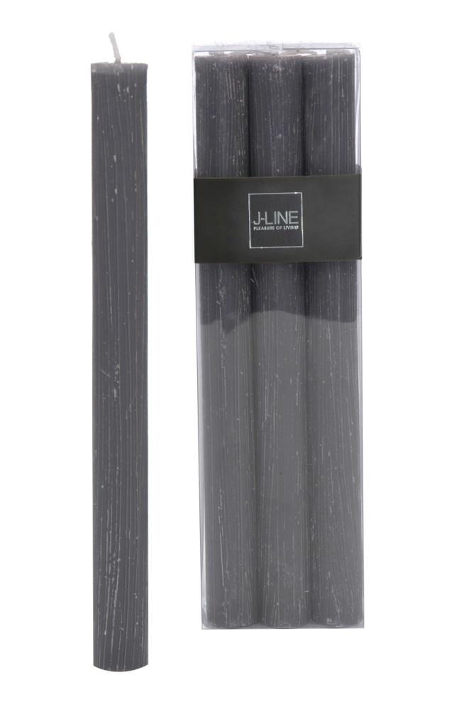 J-line Doos 6 Tafelkaarsen Graniet -13h