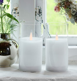 Sirius Home Ivy 2 white glass candles Ø:7,5 H:15 cm moving flame