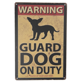 Clayre & Eef Tekstbord Warning! Guard Dog on Duty
