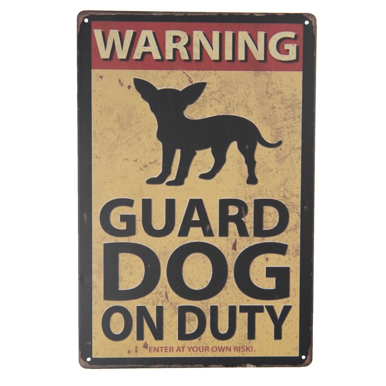 Clayre & Eef Tekstbord Warning! Guard Dog on Duty