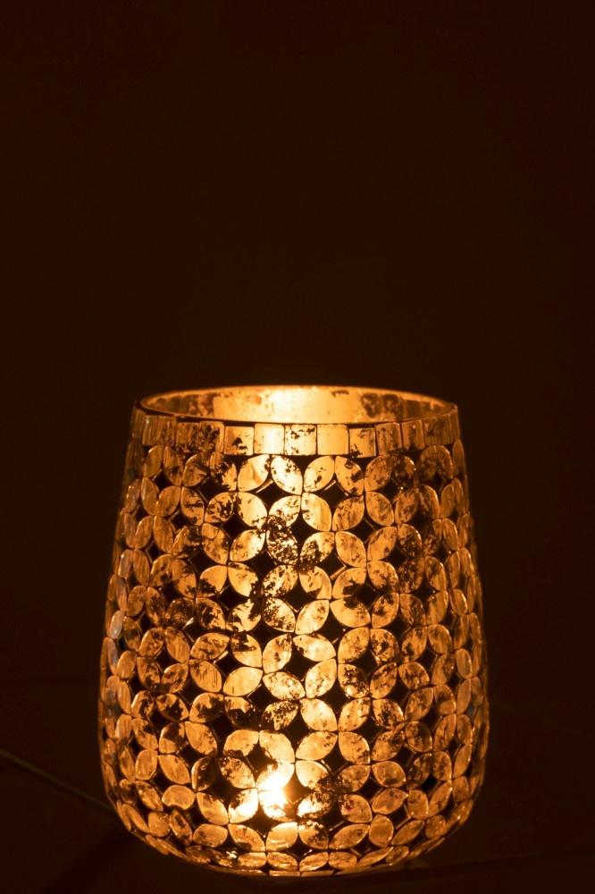 J-line Theelichthouder Mozaiek Glas Zilver Medium
