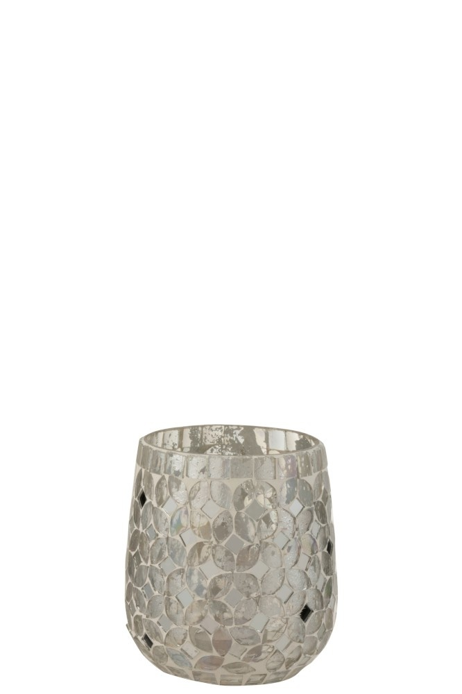 J-line Theelichthouder Mozaiek Glas Zilver Small