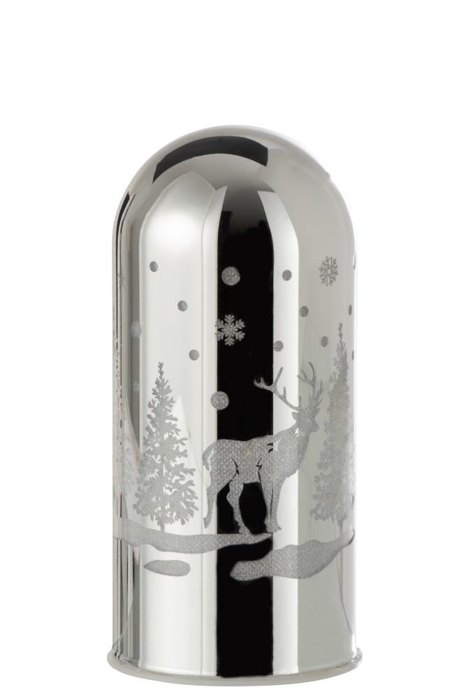 J-line Decoratie Afgeronde Cilinder Led Winter Glas Zilver Small