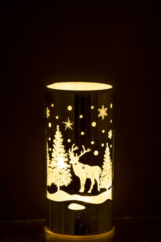 J-line Decoratie Cilinder Led Glas Winter Zilver Medium