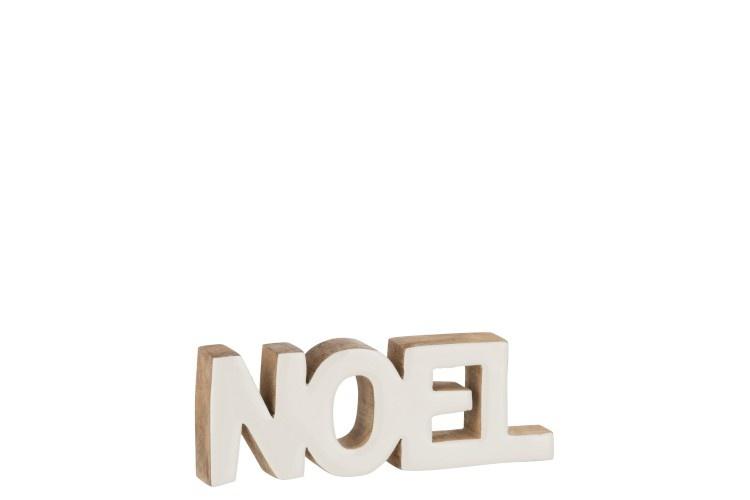 J-line Decoratie Noel Mango Hout Wit Large